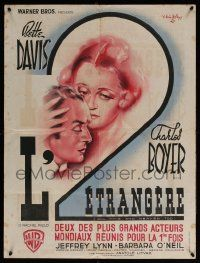 9t688 ALL THIS & HEAVEN TOO French 24x32 '45 Cristellys artwork of Bette Davis & Charles Boyer!