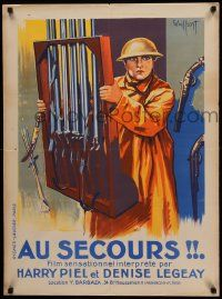 9t689 AU SECOURS French 24x32 '25 art of soldier Harry Piel carrying gun rack by Gaillant!