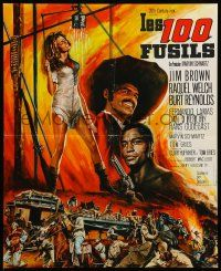 9t740 100 RIFLES French 17x21 '69 different Jean Mascii art of Jim Brown & sexy Raquel Welch!