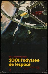 9t742 2001: A SPACE ODYSSEY French 15x23 R70s Stanley Kubrick, Bob McCall art of space wheel!