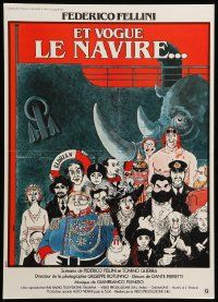 9t746 AND THE SHIP SAILS ON French 16x22 '83 Federico Fellini, great art by Jacques Tardi!