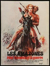 9t748 BATTLE OF THE AMAZONS French 15x20 '76 Labret art of sexy warrior Lucretia Love on horse!