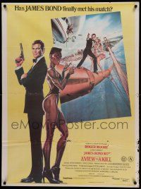 9t028 VIEW TO A KILL Indian '85 art of Roger Moore as James Bond & Grace Jones by Daniel Goozee!