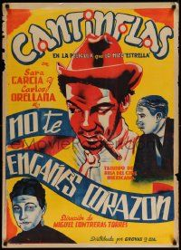 9t021 NO TE ENGANES CORAZON Mexican poster R40s deceptive art of top-billed Cantinflas with cigar!