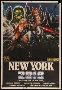 9t336 AFTER THE FALL OF NEW YORK Turkish '84 post-apocalyptic NYC, cool Renato Casaro action art!