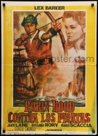1f013 ROBIN HOOD & THE PIRATES Argentinean 21x29 '60 different art of Lex Barker with bow & arrow!