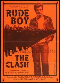 1f028 RUDE BOY Swiss '80 The Clash, cool different image of Mick Jones & police, orange design!