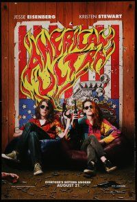 1g084 AMERICAN ULTRA teaser DS 1sh '15 great image of Jesse Eisenberg and Kristen Stewart!