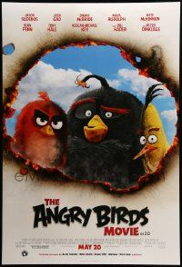 1g085 ANGRY BIRDS MOVIE advance DS 1sh '16 wacky image of the fowl-tempered avian cast!