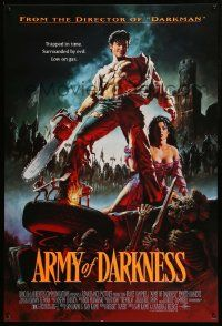 1g089 ARMY OF DARKNESS 1sh '93 Sam Raimi, art of Bruce Campbell with chainsaw hand by John Bolton!