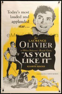 1g090 AS YOU LIKE IT 1sh R49 Sir Laurence Olivier in William Shakespeare's romantic comedy!