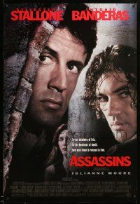 1g091 ASSASSINS DS 1sh '95 cool image of Sylvester Stallone, Antonio Banderas & Julianne Moore!