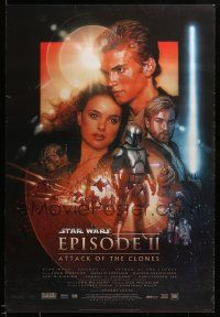1g021 ATTACK OF THE CLONES style B DS 1sh '02 Star Wars Episode II, artwork by Drew Struzan!