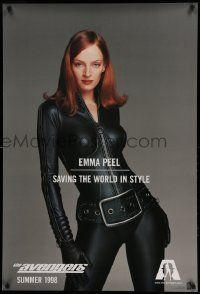 1g096 AVENGERS teaser DS 1sh '98 sexy Uma Thurman as Emma Peel - saving the world in style!