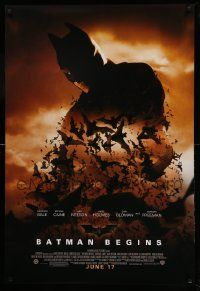 1g109 BATMAN BEGINS advance DS 1sh '05 June 17, image of Christian Bale in title role with bats!