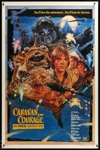 1g012 CARAVAN OF COURAGE style B int'l 1sh '84 An Ewok Adventure, Star Wars, art by Drew Struzan!