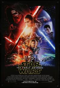 1g026 FORCE AWAKENS int'l advance DS 1sh '15 Star Wars: Episode VII, J.J. Abrams, cool cast montage!