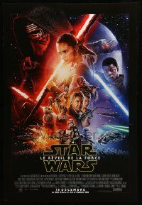 1g028 FORCE AWAKENS export:French advance DS 1sh '15 Star Wars: Episode VII, Abrams, cast montage!