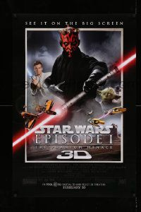 1g019 PHANTOM MENACE advance DS 1sh R12 Star Wars Episode I in 3-D, different image of Darth Maul!