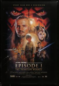 1g015 PHANTOM MENACE style B DS 1sh '99 George Lucas, Star Wars Episode I, art by Drew Struzan!