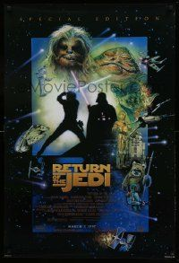 1g010 RETURN OF THE JEDI style D advance 1sh R97 George Lucas, great montage art by Drew Struzan!