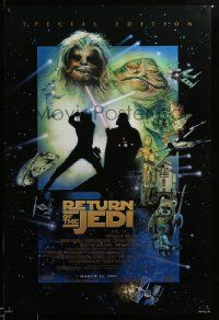 1g011 RETURN OF THE JEDI style E advance 1sh R97 George Lucas, great montage art by Drew Struzan!