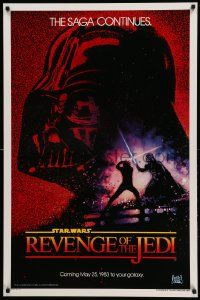 1g007 RETURN OF THE JEDI dated teaser 1sh '83 George Lucas' Revenge of the Jedi, Drew art!