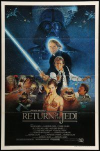 1g008 RETURN OF THE JEDI style B int'l 1sh '83 George Lucas, Hamill, Ford, Fisher, art by Sano!