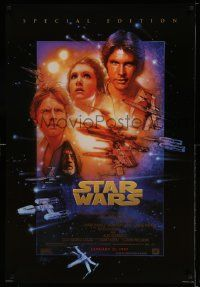 1g002 STAR WARS style B advance 1sh R97 George Lucas classic sci-fi epic, art by Drew Struzan!