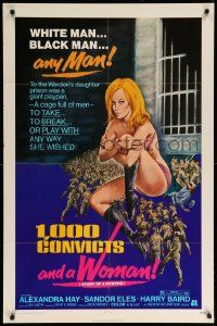 1j013 1000 CONVICTS & A WOMAN 1sh '71 sexy blonde nympho Alexandra Hay would take any man!