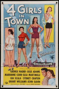1j004 4 GIRLS IN TOWN 1sh '56 sexy Julie Adams, Marianne Cook, Elsa Martinelli & Gia Scala!