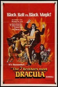 1j006 7 BROTHERS MEET DRACULA 1sh '79 The Legend of the 7 Golden Vampires, different art!