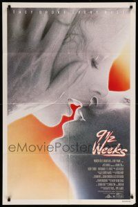 1j019 9 1/2 WEEKS 1sh '86 Mickey Rourke, Kim Basinger, sexiest close up kissing image!