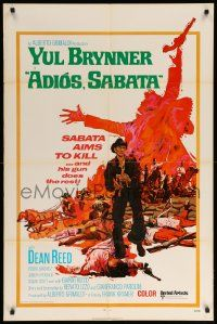 1j021 ADIOS SABATA int'l 1sh '71 Yul Brynner aims to kill, and his gun does the rest, cool art!
