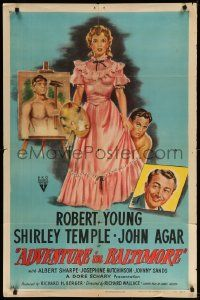 1j022 ADVENTURE IN BALTIMORE style A 1sh '49 art of Robert Young, John Agar & cute Shirley Temple!