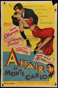 1j025 AFFAIR IN MONTE CARLO 1sh '53 sexy Merle Oberon embraced by Richard Todd!