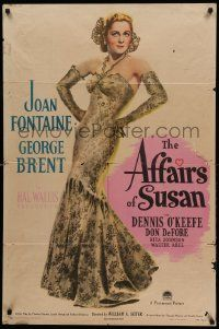1j028 AFFAIRS OF SUSAN style A 1sh '45 full-length image of sexy Joan Fontaine in pretty dress!