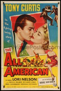 1j033 ALL AMERICAN 1sh '53 Tony Curtis kissing sexy Mamie Van Doren in her first, football!