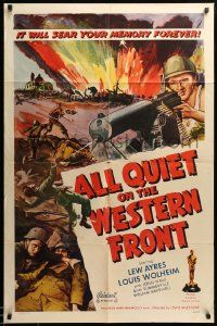 1j035 ALL QUIET ON THE WESTERN FRONT 1sh R50 Lew Ayres, WWII classic, different art!