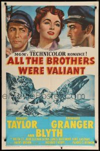 1j036 ALL THE BROTHERS WERE VALIANT 1sh '53 Robert Taylor, Stewart Granger, whaling artwork!