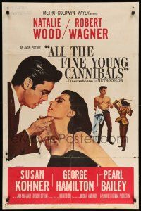 1j037 ALL THE FINE YOUNG CANNIBALS 1sh '60 art of Robert Wagner about to kiss sexy Natalie Wood!