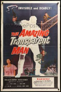 1j040 AMAZING TRANSPARENT MAN 1sh '59 Edgar Ulmer, cool fx art of the invisible & deadly convict!