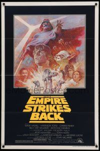 1j282 EMPIRE STRIKES BACK studio style 1sh R81 George Lucas sci-fi classic, cool art by Tom Jung!