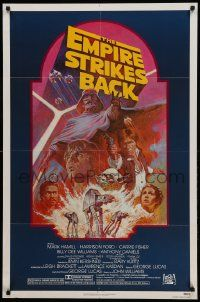 1j281 EMPIRE STRIKES BACK NSS style 1sh R82 George Lucas sci-fi classic, cool artwork by Tom Jung!