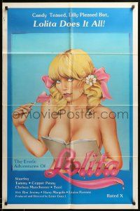 1j288 EROTIC ADVENTURES OF LOLITA 1sh '82 x-rated sexploitation, great super-sexy art!
