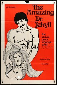1j290 EROTIC DR. JEKYLL 25x38 1sh '76 Harry Reems, the sexual quick change artist, sexploitation!