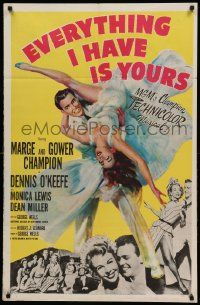 1j299 EVERYTHING I HAVE IS YOURS 1sh '52 full-length art of Marge & Gower Champion dancing!