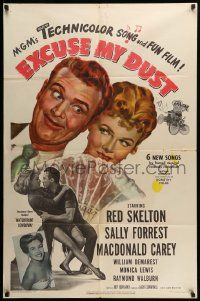 1j302 EXCUSE MY DUST 1sh '51 art of Red Skelton being kissed by two pretty girls!
