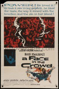 1j313 FACE IN THE CROWD 1sh '57 Andy Griffith took it raw like his bourbon & his sin, Elia Kazan