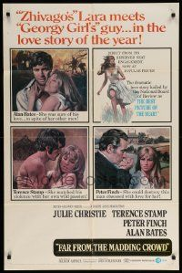 1j319 FAR FROM THE MADDING CROWD 1sh '68 Julie Christie, Terence Stamp, Peter Finch, Schlesinger